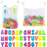 MEHAC Bathtub Foam Letters & Numbers + 2 x Dry Toy Organizer + 5 Strong Hooks | Eco-Friendly Educational Game Soft Alphabet 1