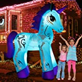 inslife 6Ft Halloween Inflatables Day of The Dead Unicorn, Blow Up Yard Decorations with LED Lights for Party Home Lawn Garde