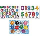 Melissa & Doug Classic Wooden Peg Puzzles (Set of 3) - Numbers, Alphabet, and Colors