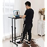 Akway Small Computer Desk Standing Desk with Wheels 31.4 x 19.6 inches Height Adjustable Desk Sit Stand Desk Rolling Cart Com