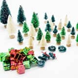 Iceyyyy 56 Pcs Artificial Mini Christmas Trees Set - Miniature Sisal Frosted Christmas Trees Bottle Brush Trees for DIY Craft