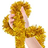 Christmas Tree Gold Tinsel Garland Metallic Streamers Celebrate a Holiday New Years Eve Happy Party Indoor and Outdoor Disco