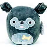 "Squishmallow Kelly Toys Bongo The 8"" Black Pug Super Soft Stuffed Plush Toy Pillow"