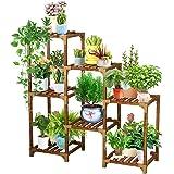 YGOCH Wood Plant Stand 7 Tiered, Indoor Outdoor Multiple Flower Pot Holder, Shelf Rack Multifunctional Storage Organizer for