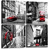 Wall Art City Canvas Prints Decor Homes Decorations Black and White with Red Cars Buildings Picture Framed Modern Artwork for