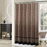 DS CURTAIN Leopard Bronze Fabric Shower Curtain,Chocolate Vintage Polyester Shower Curtains for Bathroom,Brown Bathroom Curta