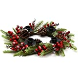 Gift Boutique Traditional Christmas Advent Wreath Ring Candle Holder Red Berry Pine Advent Calendar Season Centerpiece Decor