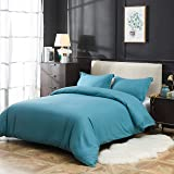 Duvet Cover Set 3 Piece Brushed Microfiber Lightweight and Soft, Machine Washable Queen Teal