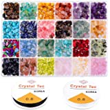 Crystal Chips and Gemstones Beads for Jewelry Making, Cridoz 24 Colors Gemstones Chips Jewelry Bracelet Beads for Jewelry Mak