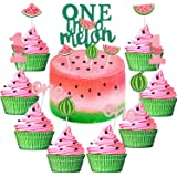 Set of 27 One in a Melon Cake Cupcake Toppers Glitter Watermelon Cake Toppers 1st Birthday Party Cake Decor Watermelon Themed