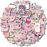 50Pcs Kawaii Pig Stickers, Cute Cartoon Pink Piggy Sticker Pack for Kids, Waterproof Vinyl Laptop Pig Stickers for Water Bott
