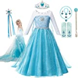 Muababy Girls Snow Queen Elsa Sparkle Princess Dress Puff Costume 5 Layers With Tiara Sets