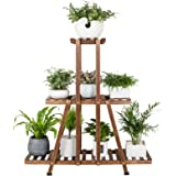 MUDEELA 3 Tier Wood Plant Stand, Indoor Tall Plant Stand for Living Room Corner, Multiple Flower Pot Holder Shelf, Tiered Pla
