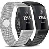 AK Pack 2 Metal Loop Bands Compatible with Fitbit Charge 4 / Charge 3 /Charge 3 SE Bands, Stainless Steel Magnetic Replacemen