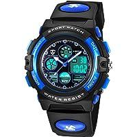 子供腕時計 ボーイズスポーツウォッチ アウトドア多機能防水 アラート 日付曜日表示 デュアルタイム LED アナログ表示…