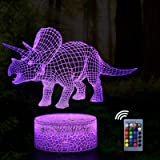 MIOSIST Dinosaur Triceratops Rex 3D Night Light for Kids,Dinosaur Toys for Boys Girl,16 Colors Desk lamp Touch USB Charge Tab