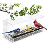 Window Bird Feeder by Wild Birds of Joy - Large Clear Acrylic Easy Clean Squirrel Resistant with Removable Tray and 4 Super S