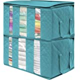 Sorbus Foldable Storage Bag Organizers, 3 Sections, Great for Clothes, Blankets, Closets, Bedrooms, and More (2 Pack, Aqua)
