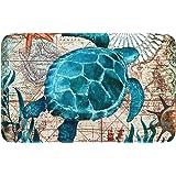 Uphome Bathroom Rug, Vintage Summer Ocean Collection Sea Horse on Nautical Map Flannel Microfiber Foam Bath Mat Non-Slip Soft
