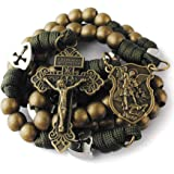 HanlinCC Large and Heavy Antique Bronze Metal Beads Rugged Durable Paracord Rosary Necklace with St.Michael Center Piece and