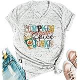 LANMERTREE Halloween Pumpkin Spice Junkie V-Neck T-Shirt Women's Casual Printed Costume Top