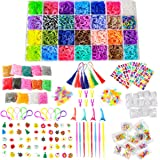 TOPNEW 22000+Rainbow Rubber Loom Bands Refill Kit DIY Weaving Craft Kit for Kids, Over 20,000 Loom Bands in 42 Colors 300 Col