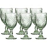 Coloured Water Goblet Vintage-Inspired Pattern Glass Wedding Goblet (Green)