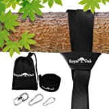 EASY HANG (8FT) TREE SWING STRAP X1 - Holds 2200lbs. - Heavy Duty Carabiner - Bonus Spinner - Perfect for Tire and Saucer Swi