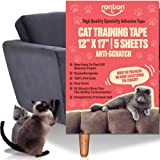Ronton Cat Scratch Deterrent Tape - 12 in X 17 in X-Large Sheets | Anti Scratch Tape for Cats | 100% Transparent Clear Double