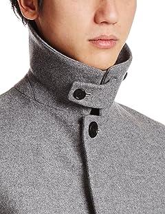Melton Balmacaan Coat 1225-104-7330: Grey