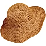 Women Straw Hat Wide Brim Beach Sun Cap Foldable Large Floppy for Travel Summer