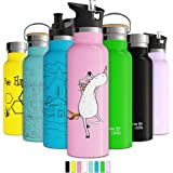 Double Insulated Water Bottle with BPA Free Straw Lid & Sports Cap | Stainless Steel Eco Friendly Non Sweat Durable Finish 20
