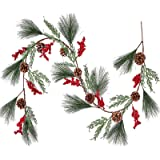 Lvydec Christmas Pine Garland Decoration, 6ft Greenery Christmas Garland with Red Berry Stem Pine Cones and Pine Needles for