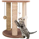 Cat Scratching Post Tower with 3 Scratcher Posts, Carpeted Base Play Area and Perch – Furniture Scratching Deterrent for Indo