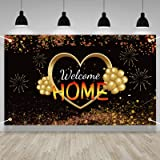 Lnlofen Welcome Home Banner Sign Decorations, Large Welcome Home Backdrop Supplies, Black Gold Homecoming Poster Photo Props