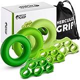 HerculesGrip Hand Grip Strengthener Forearm Workout Kit - 6 Pack -Grip Ring & Finger Stretcher -3 Resistance Levels - Easy, M