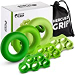 HerculesGrip Hand Grip Strengthener Forearm Workout Kit - 6 Pack -Grip Ring & Finger Stretcher -3 Resistance Levels...
