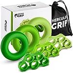 HerculesGrip Hand Grip Strengthener Forearm Workout Kit - 6 Pack -Grip Ring & Finger Stretcher -3 Resistance Levels...