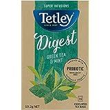 Tetley Super Infusions Digest Green Tea and Mint, 16 Count