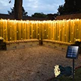 Solar Curtain Lights Outdoor,13ft(L) x 3.3ft(H),8 Mode,200 LED,Solar String Lights for Pool Glass Fence Handrail Railing Eave