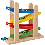 Play22 Wooden Car Ramps Race - 4 Level Toy Car Ramp Race Track Includes 4 Wooden Toy Cars - My First Baby Toys - Toddler Race