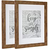 Picture Frame Made of MDF Wood for Tabletop Display and Wall Mounting Photo Frame Brown (11x14-2Pack)