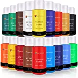 Acrylic Paint Set By Color Technik Artist Quality LARGE SET - 18x59ml (2-Ounce) Bottles Best Colors For Painting Canvas Wood