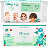 Offspring -New- Designer Print Premium Diaper and Wipe Sample Pack- 3 Eco-Friendly Ultra Soft Diapers 20 Biodegradable All Na