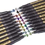 XSG メタリックマーカーペン 20色セット 細字メタリックマーカー ブラックペーパー ロックペイント カード作成 DIYフォトアルバム スクラップブッククラフト メタル 木 セラミック ガラス (ミディアムチップ)