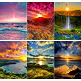 SIIYIX 6 Sets 5d Full Drill Diamond Sunset Painting Dotz Kits for Adult Kids Sea Mountain Waterfall Painting by Numbers Home