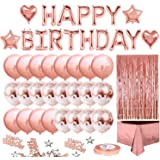 MOVINPE Rose Gold Birthday Party Decoration, Happy Birthday Banner, Rose Gold Fringe Curtain, Foil Tablecloth, Heart Star Foi