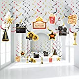 Hollywood Movie Theme Party Hanging Swirls, Lights Camera Action Movie Night Party Black Gold Foil Swirl Decorations for Holl
