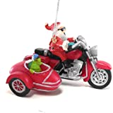 Santa on a Motorcycle Turtle in Side Car Christmas Ornament
