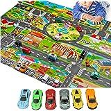Kids Play Mat-Fun Play mat for Kids Educational Traffic Kids Play Mat-Include 6 Cars Washable,Waterproof PVC Non-Slip Fabric